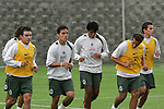 Mexico soccer team players Luis Perez (L-R), Omar Bravo, Claudio Suarez, Daniel Osorno and Mario Mendez  run during a training session at the Centro Pegaso training center, March 27, 2006. Photo by Javier Rodriguez