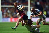 Will Hurrell of Bristol Bears takes on the Bath Rugby defence. Gallagher Premiership match, between Bristol Bears and Bath Rugby on August 31, 2018 at Ashton Gate Stadium in Bristol, England. Photo by: Patrick Khachfe / Onside Images