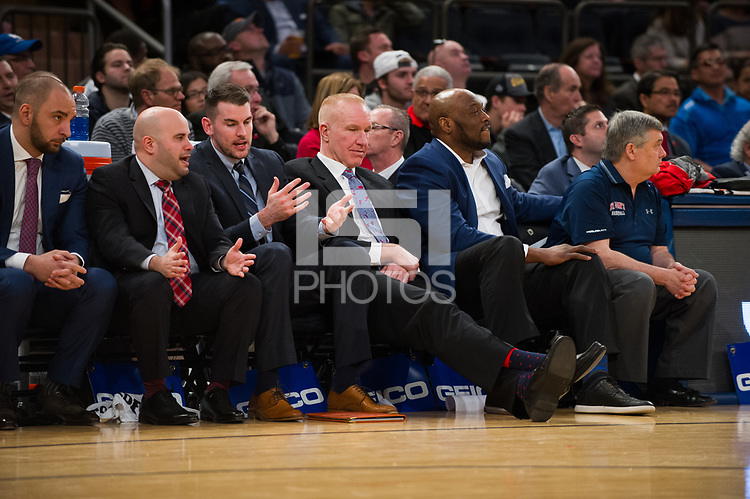NEW YORK, NY - Thursday March 9, 2017: St. John's head coach Chris Mullin watches as his Red Storm trail Villanova as the two schools square off in the Quarterfinals of the Big East Tournament at Madison Square Garden.