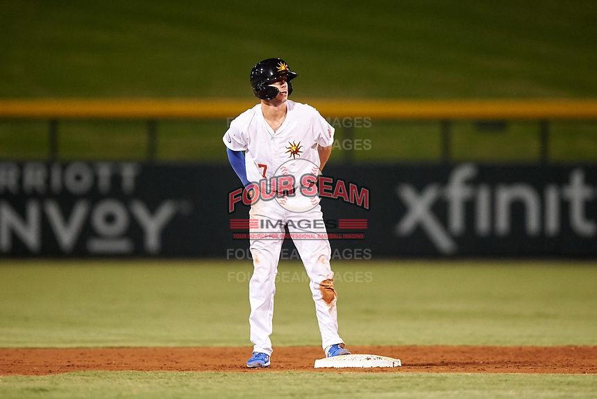 Mesa Solar Sox Jared Young (17), of the Chicago Cubs organization, stands on second base during an Arizona Fall League game against the Peoria Javelinas on September 21, 2019 at Sloan Park in Mesa, Arizona. Mesa defeated Peoria 4-1. (Zachary Lucy/Four Seam Images)