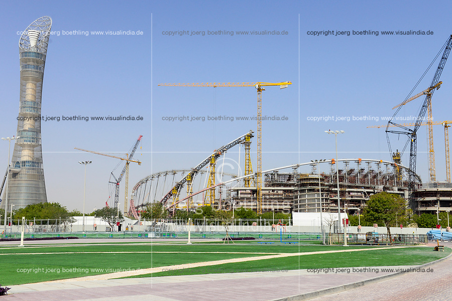 QATAR, Doha, construction site Khalifa International Stadium for FIFA world cup 2022, built by contractor midmac and sixt contract, left Aspire Tower / KATAR, Doha, Baustelle Khalifa International Stadium fuer die  FIFA Fussballweltmeisterschaft 2022