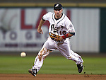 Reno Aces' Tyler Bortnick makes a play at second base during a minor league baseball game in Reno, Nev., on Sunday, Aug. 25, 2013. The Salt Lake Bees won 9-1. <br /> Photo by Cathleen Allison