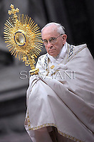Pope Francis leads a worldwide Eucharistic Adoration at St Peter's basilica the Vatican.June 2, 2013