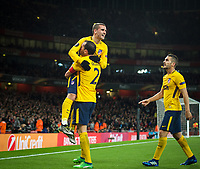 Antoine Griezmann of Atletico Madrid celebrates scoring the equalising goal during the UEFA Europa League Semi Final 1st leg match between Arsenal and Atletico Madrid at the Emirates Stadium, London, England on 26 April 2018. Photo by Andy Aleksiejczuk / PRiME Media Images