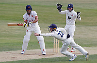 Jordan Cox of Kent takes the catch of Feroze Khusi during Essex CCC vs Kent CCC, Bob Willis Trophy Cricket at The Cloudfm County Ground on 2nd August 2020