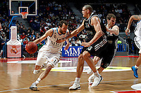 Real Madrid's Sergio Rodriguez and Brose's Maik Zirbes during Euroliga match. February 28,2013.(ALTERPHOTOS/Alconada)
