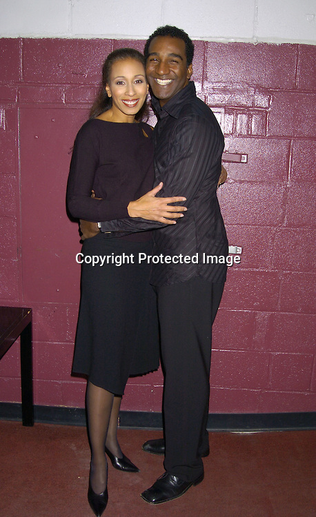 "Tamara Tunie and Norm Lewis..at the Amas  Musical Theatre Benefit on October 25, 2004 ..at the John Houseman Theatre in NYC.  Tamara Tunie and Norm Lewis performed in ""Raisin""...Photo by Robin Platzer, Twin Images"