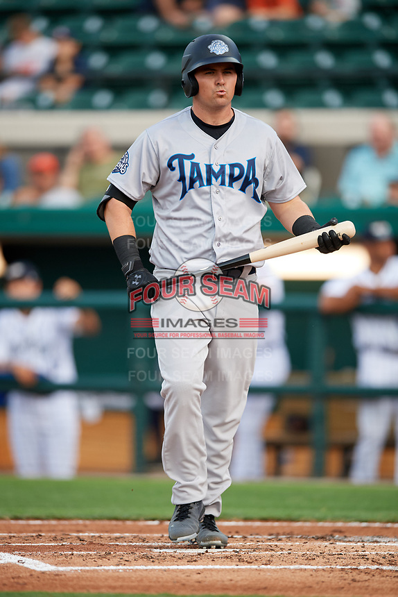 Tampa Tarpons designated hitter Tim Lynch (26) at bat during a game against the Lakeland Flying Tigers on April 5, 2018 at Publix Field at Joker Marchant Stadium in Lakeland, Florida.  Tampa defeated Lakeland 4-2.  (Mike Janes/Four Seam Images)