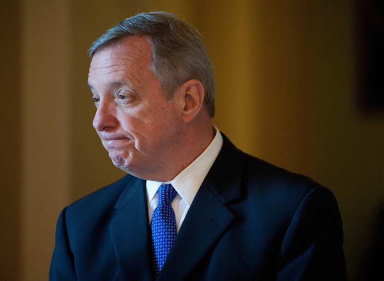 UNITED STATES  APRIL 24: Sen. Richard Durbin, D-Ill., speaks with a reporter outside of the Senate chamber onTuesday, April 24, 2012. (Photo By Bill Clark/CQ Roll Call)