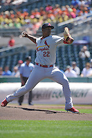 Memphis Redbirds Alex Reyes (22) throws during the Pacific Coast League game against the Iowa Cubs at Principal Park on June 7, 2016 in Des Moines, Iowa.  Iowa won 6-5.  (Dennis Hubbard/Four Seam Images)