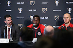 08 December 2016: Toronto's Jozy Altidore (center) is flanked by head coach Greg Vanney (left) and captain Michael Bradley (right). Major League Soccer held a press conference with Toronto FC and Seattle Sounders FC at the Kia Training Ground in Toronto, Ontario in Canada two days before MLS Cup 2016.