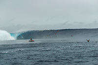 Namotu Island Resort, Nadi, Fiji (Sunday, May 27th 2018): Ramon Navarro (CHL) rode the biggest wave of the day.  <br /> There had been strong SE winds all night along with heavy rain so the ocean was messy at first light. Cloudbreak was big and bumpy at dawn and the namotu boat was the first in the line up. The set waves were in the 15' plus range  and the ocean needed to settle down before any one hit the water.<br /> As the tide dropped it cleaned up and the first surfers paddled out. The first ridden waves were tow-in and in the 20' plus range. The swell was the biggest just after the low tide and stayed in the 15'-20' range for the rest of the day.<br /> Crew paddled and towed into the waves and there were also crew who kite surfed when the wind ws strong enought.<br /> There were strong wind all day and overcast conditions with long periods of rain. The huge swell forecast had big wave surfers flying in from around the world and it had already been call the 'Black Mamba' swell, one of the biggest to hit Fiji in the past six years.  <br /> Photo: joliphotos.com