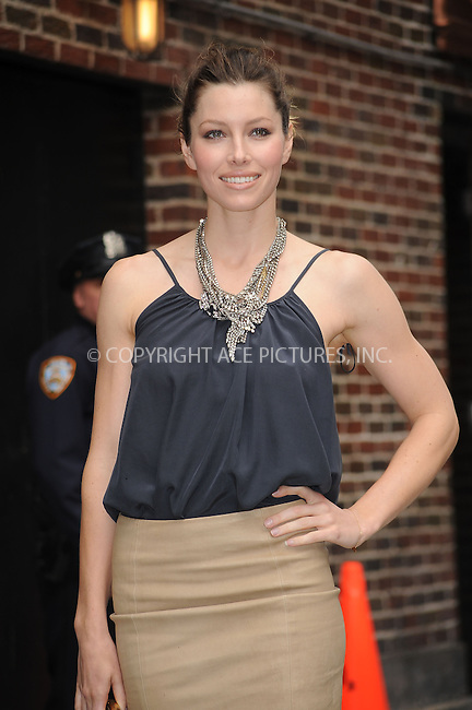WWW.ACEPIXS.COM . . . . . ....June 3 2009, New York City....Actress Jessica Biel made an appearance at the 'Late Show with David Letterman' at the Ed Sullivan Theatre on June 3 2009 in New York City....Please byline: KRISTIN CALLAHAN - ACEPIXS.COM.. . . . . . ..Ace Pictures, Inc:  ..tel: (212) 243 8787 or (646) 769 0430..e-mail: info@acepixs.com..web: http://www.acepixs.com