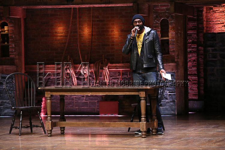 Nik Walker on stage at the #EduHam Q & A at the Richard Rodgers Theatre on November 15, 2017 in New York City.