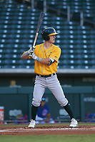 AZL Athletics Gold Marty Bechina (7) at bat during an Arizona League game against the AZL Cubs 1 at Sloan Park on June 20, 2019 in Mesa, Arizona. AZL Athletics Gold defeated AZL Cubs 1 21-3. (Zachary Lucy/Four Seam Images)
