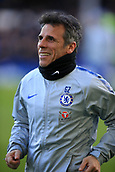 17th March 2019, Goodison Park, Liverpool, England; EPL Premier League Football, Everton versus Chelsea; Chelsea assistant manager Gianfranco Zola supervising the pre match warm up