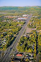 Aerial view down airport road in Fairbanks, Alaska