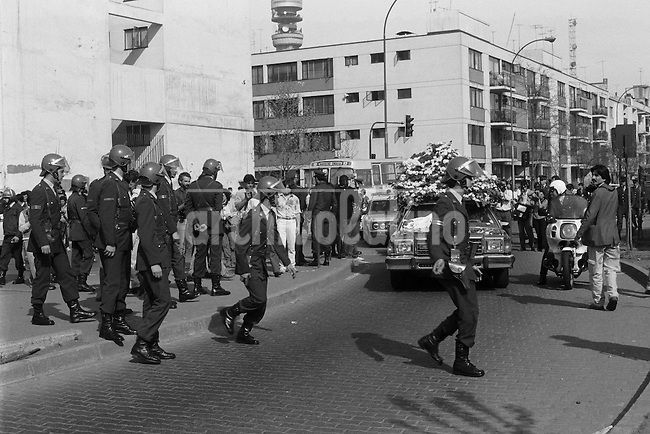Funeral del periodista Jose Carrasco Tapia, secuestrado y asesinado por agentes de seguridad en replesalia y venganza por el atentado contra Augusto Pinochet donde murieron 6 de sus escoltas.<br /> Santiago Chile 10 Septiembre 1986<br /> Forty years ago, on September 11, 1973, a military coup led by General Augusto Pinochet toppled the democratic socialist government of Chile. President Salvador Allende was killed during the  attack to seize  La Moneda presidential palace.  In the aftermath of the coup, a quarter of a million people were detained for their political beliefs, 3000 were killed or disappeared and many thousands were tortured.<br /> Some years later in 1981, while Pinochet ruled Chile with iron fist, a young photographer called Juan Carlos Caceres started to freelance in the streets of Santiago and the poblaciones or poor outskirts, showing the growing resistance against the dictatorship. For the next 10 years Caceres photographed every single protest and social movement fighting for the restoration of democracy. He knew that his camera was his only weapon, he knew that his fate was to register the daily violence and leave his images for the History.<br /> In this days Caceres is working to rescue and organize his collection of images in the project Imagenes de la Resistencia   . With support of some Chilean official institutions, thousands of negatives are digitalized and organized to set up the more complete visual heritage of this  violent period of Chile&acute;s history.<br /> In a time when technology was not very friendly and communications were kind of basic, Juan Carlos Caceres and other photojournalist were always at the right place in the right moment defying the threats of the police. Their work is now  a visual heritage that documents and remind us the fight of Chilean people for democracy.