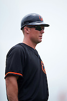 GCL Orioles coach Shawn McGill (48) during the second game of a doubleheader against the GCL Rays on August 1, 2015 at the Ed Smith Stadium in Sarasota, Florida.  GCL Orioles defeated the GCL Rays 11-4.  (Mike Janes/Four Seam Images)