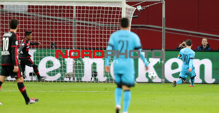 Championsleague , Bayer 04 Leverkusen vs. FC Barcelona<br /> Lionel Andr&radic;&copy;s Messi (Barcelona) erzielt das 1:0<br /> <br /> Foto &not;&copy; nordphoto /  Bratic *** Local Caption ***