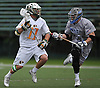 Jeremy Morgan #11 of LIU Post, left, gets pressured by Nick Sidaras #31 of New York Institute of Technology during the ECC men's lacrosse championship at LIU Post on Saturday, May 7, 2016. Morgan tallied three goals and an assist in Post's 12-11 win.