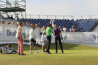 Petr Lawrie (IRL) &amp; Reinier Saxton (NED) on the 18th during Round 2 of the KLM Open at Kennemer Golf &amp; Country Club on Friday 12th September 2014.<br /> Picture:  Thos Caffrey / www.golffile