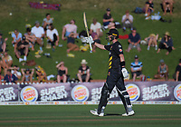Adam Hose celebrates his 50 during the Burger King Super Smash T20 cricket match between the Wellington Firebirds and Northern Knights at Basin Reserve in Wellington, New Zealand on Saturday, 12 January 2019. Photo: Dave Lintott / lintottphoto.co.nz