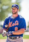 13 March 2014: New York Mets outfielder Kirk Nieuwenhuis awaits his turn in the batting cage prior to a Spring Training game against the Washington Nationals at Space Coast Stadium in Viera, Florida. The Mets defeated the Nationals 7-5 in Grapefruit League play. Mandatory Credit: Ed Wolfstein Photo *** RAW (NEF) Image File Available ***