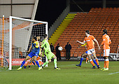 18/12/18 The Emirates FA Cup, 2nd Round Replay Blackpool v Solihull Moor<br /> <br /> Curtis Tilt clears off the line