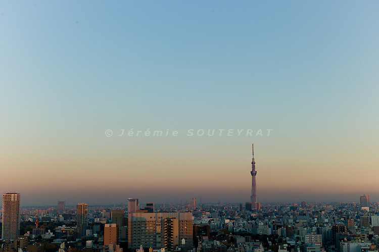 Tokyo, December 11 2011 - Newly built Tokyo Sky Tree tower, to open on March 2012. The tower reached its full height of 634.0 metres (2,080 ft) in March 2011