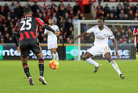 (L-R) Sylvain Distin of Bournemouth against Eder of Swansea during the Barclays Premier League match between Swansea City and Bournemouth at the Liberty Stadium, Swansea on November 21 2015
