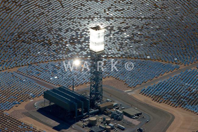 Ivanpah Solar Concentration power plant, California Mohave desert.  March 2014