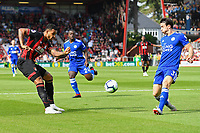 Joshua King of AFC Bournemouth has a shot blocked by Ben Chilwell of Leicester City during AFC Bournemouth vs Leicester City, Premier League Football at the Vitality Stadium on 15th September 2018