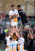 Will Rowlands of Wasps wins the ball at a lineout. Heineken Champions Cup match, between Bath Rugby and Wasps on January 12, 2019 at the Recreation Ground in Bath, England. Photo by: Patrick Khachfe / Onside Images