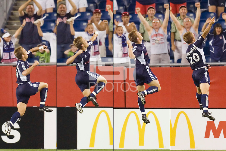 In this composite of four photographs Taylor Twellman of the Revolution celebrates his game winning goal in stoppage time. Twellman hat a natural hat trick, scoring all three of the Revolutions goals including the game tying goal in the 90th minute. The New England Revolution defeated FC Dallas 3 to 2 at Gillette Stadium, Foxbourgh, MA, on July 16, 2005.