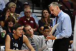 March 6, 2015; Las Vegas, NV, USA; Loyola Marymount Lions head coach Mike Dunlap instructs forward Marin Mornar (42) against the Santa Clara Broncos during the second half of the WCC Basketball Championships at Orleans Arena.