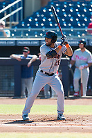 Scottsdale Scorpions designated hitter Abraham Toro-Hernandez (28), of the New York Mets organization, at bat during an Arizona Fall League game against the Peoria Javelinas at Peoria Sports Complex on October 18, 2018 in Peoria, Arizona. Scottsdale defeated Peoria 8-0. (Zachary Lucy/Four Seam Images)