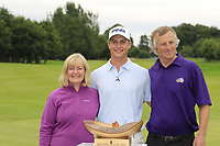Calum Hill (SCO) wins the tournament by 1 shot pictured with Mum and Dad, at the end of Sunday's Final Round of the Northern Ireland Open 2018 presented by Modest Golf held at Galgorm Castle Golf Club, Ballymena, Northern Ireland. 19th August 2018.<br /> Picture: Eoin Clarke | Golffile<br /> <br /> <br /> All photos usage must carry mandatory copyright credit (&copy; Golffile | Eoin Clarke)