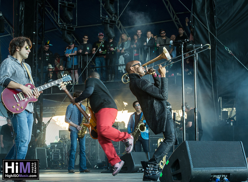 Trombone Shorty and Orleans Avenue performs at the 2014 Voodoo Music Experience.