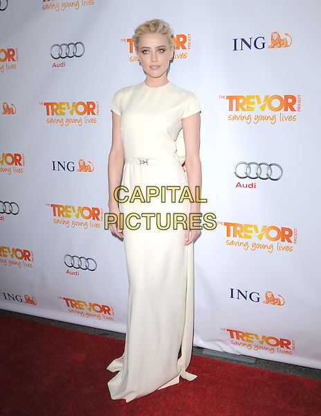 Amber Heard .Trevor Live at The Hollywood Palladium in Hollywood, California, USA..December 4th, 2011  .full length dress sleeveless white cream                                                                              .CAP/RKE/DVS.©DVS/RockinExposures/Capital Pictures.