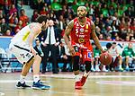 ****BETALBILD**** <br /> Uppsala 2015-04-24 Basket SM-Final 3 Uppsala Basket - S&ouml;dert&auml;lje Kings :  <br /> Uppsalas Thomas Jackson i kamp om bollen med S&ouml;dert&auml;lje Kings Mike Joseph under matchen mellan Uppsala Basket och S&ouml;dert&auml;lje Kings <br /> (Foto: Kenta J&ouml;nsson) Nyckelord:  Basket Basketligan SM SM-final Final Fyrishov Uppsala S&ouml;dert&auml;lje Kings SBBK