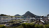 Rio de Janeiro. BRAZIL.   General View of the boat racks, 2016 Olympic Rowing Regatta. Lagoa Stadium,<br /> Copacabana,  &ldquo;Olympic Summer Games&rdquo;<br /> Rodrigo de Freitas Lagoon, Lagoa. Local Time 15:40:28   Friday  05/08/2016 <br /> <br /> [Mandatory Credit; Peter SPURRIER/Intersport Images]