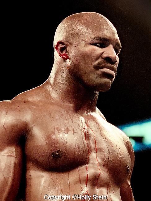 Mike Tyson v. Evander Holyfield II.  Holyfield WDQ3.  WBA heavyweight title, IBF heavyweight title.