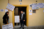 SPAIN, Madrid: Jonathan Torres, grandson of Vicente Torres, leaves the apartment building of his grandfather in Madrid on April 18, 2012. Vicente Torres, 73, who is severy ill and underwent a recent heart surgery, faces an eviction from his house. Eviction procedures in Spanish courts for unpaid mortgages and rent hit a record of 58,241 in 2011, a 21.2 percent rise over the previous year. Evictions have soared in Spain since the collapse of a property bubble in 2008 that triggered the country's economic crisis. (c) Pedro ARMESTRE