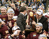 Jake Hendrickson (Duluth - 15), Mike Connolly (Duluth - 22), (Schmidt, Schultz) Scott Sandelin (Duluth - Head Coach), Jack Connolly (Duluth - 12) - The University of Minnesota-Duluth Bulldogs celebrated their 2011 D1 National Championship win on Saturday, April 9, 2011, at the Xcel Energy Center in St. Paul, Minnesota.