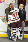 David Schaus, Molly Schaus (BC - 30), Cathy Schaus - The Boston College Eagles and the visiting University of New Hampshire Wildcats played to a scoreless tie in BC's senior game on Saturday, February 19, 2011, at Conte Forum in Chestnut Hill, Massachusetts.