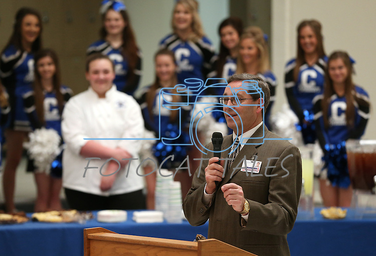 Superintendent Richard Stokes speaks at a ceremony launching the Carson City School District Foundation at Carson High School, in Carson City, Nev., on Wednesday, Feb. 18, 2015. <br /> Photo by Cathleen Allison