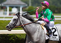 ELMONT, NY - JUNE 10: Irad Ortiz Jr., aboard Disco Partner #2, celebrates after winning the Jaipur Invitational Stakes on Belmont Stakes Day at Belmont Park on June 10, 2017 in Elmont, New York (Photo by Jesse Caris/Eclipse Sportswire/Getty Images)
