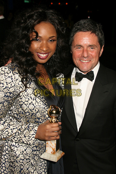 "JENNIFER HUDSON & BRAD GREY .Best Supporting Actress in a Motion Picture-Musical or Comedy for ""Dreamgirls,"".Paramount - DreamWorks Official Golden Globes After Party at The Beverly Hilton Hotel, Beverly Hills, California, USA..January 15t, 2007.half length black award trophy white pattern print coat bow tie jacket .CAP/ADM/BP.©Byron Purvis/AdMedia/Capital Pictures"