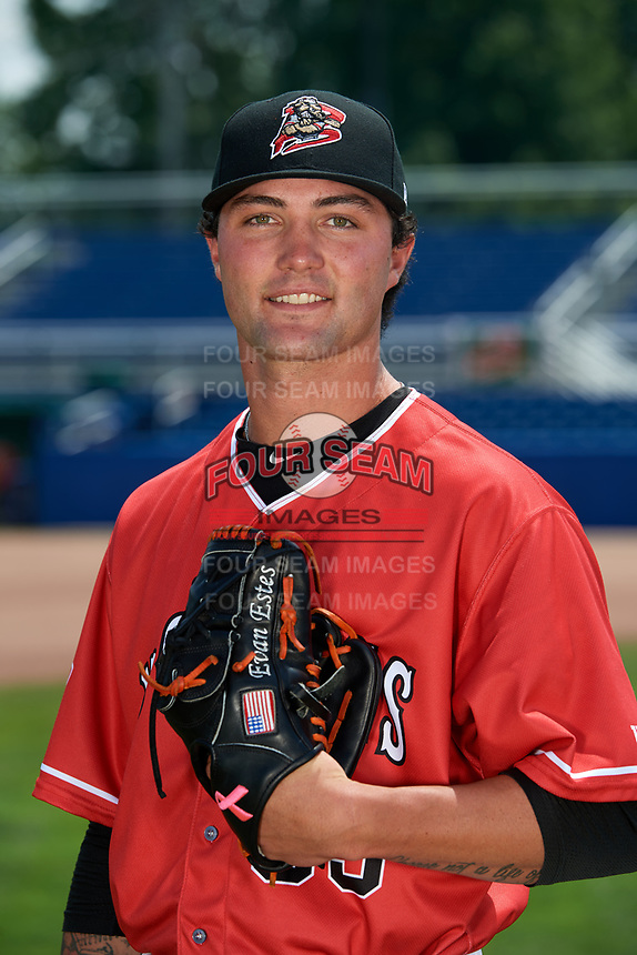 Batavia Muckdogs pitcher Evan Estes (33) poses for a photo on July 2, 2018 at Dwyer Stadium in Batavia, New York.  (Mike Janes/Four Seam Images)